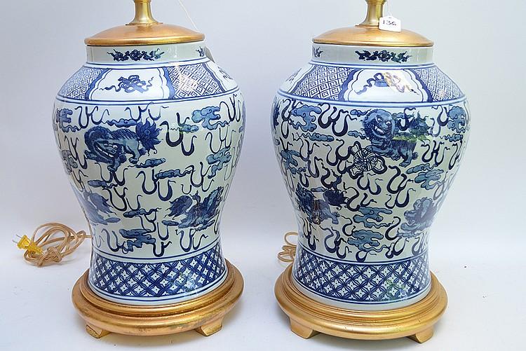 Pair Ralph Lauren Blue White Porcelain Lamps Each Lamp Ha,Baby Shower Decorations Girl Elephant