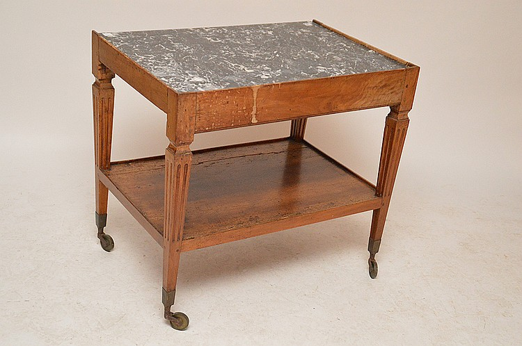 19th C Italian Work Table With Fitted Marble Surface Some