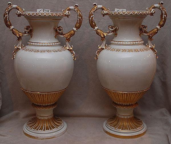 Pair Large Meissen Vases Condition Old Repairs