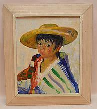 "Luigi Corbellini (ITALIAN, 1901-1968) oil on canvas, Portrait-South American Boy, 16"" x 12"""