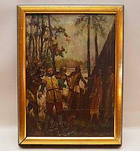 """William John Coffee. (Born 1774 England, died 1846 Albany, NY). Active Painter & Sculptor in NY from 1816 onward. """"The Capture"""". Depicting the capture of a tradesman by the Iroquois Indians. Oil on period wood panel, 16"""" x 12"""". Good Condition, needs"""