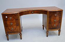 Vanity, inlay flame mahogany with 7 drawers, fan motif, 27