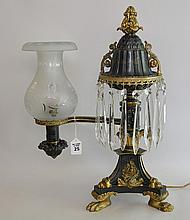 19th C. Empire B. Gardiner Gilt & Patinated Bronze Argand Lamp. Made in the first half of the 19th century by the prestigious New York firm Baldwin Gardiner (signed