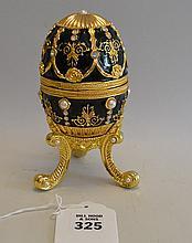 Faberge style enameled music egg box, 8 1/2
