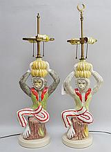 Pair ceramic seated monkey lamps, multi color, manner of Paul Hansen, 27