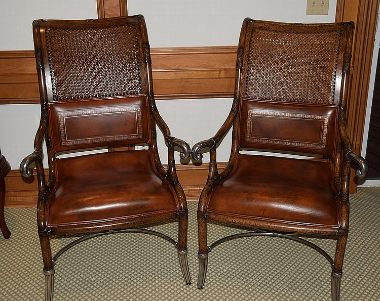 Pleasant Pair Double Caned Back Leather Seat Arm Chairs With Unusual Machost Co Dining Chair Design Ideas Machostcouk