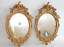 Pair oval mirrors with gilt rococo frames, 16 1/2