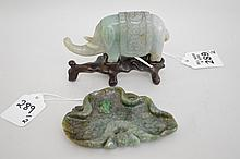 2 Chinese Carved Jade Articles. Carved Jade Frog On A Lilly Pad. Condition: good with no noticeable damage. Lth. 4