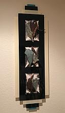 Russell Kagan Modern hanging sculpture with 3 abstract panels, framed in plexiglass, signed Russell Kagan