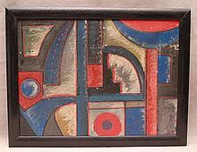 "Alexander Bogomazov(Russian 1880-1930) constructivist composition, oil on canvas, initialed in Cyrillic, image size 10 x 13 ½"""