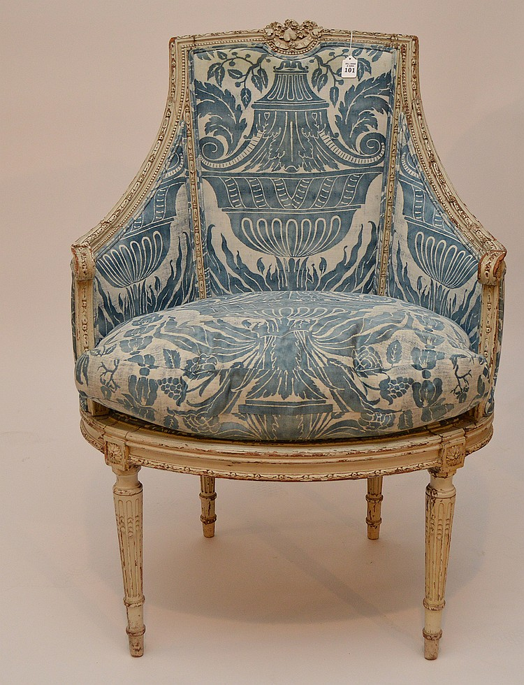 Painted french arm chair with blue fortuny fabric 41 h - Fortuny real estate ...