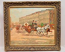 """Bart Schouten Leroy (Dutch/French, 1941-2001), """"Carriage"""", oil on board, signed lower left, 20"""" x 24"""". Framed."""