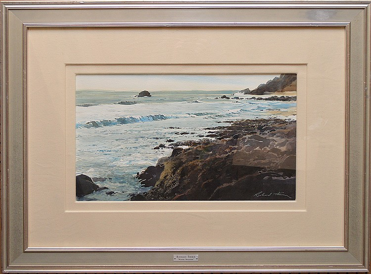 "RICHARD THORN, British (born 1952), ""Rocky Shoreline"", watercolor on heavy paper 14"" x 22 ½"", signed lower right, framed.  A high quality watercolor painting."
