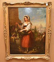 "ANTONIO MANCINI, Italian 1852-1930, ""Young Girl Selling Grapes"", oil on canvas,           36"" x 28"", signed lower left, in a period decorative frame.  Craquelure throughout.  Painting would greatly benefit with a professional lining."