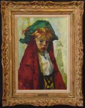 Luigi Corbellini (Italy 1901 - 1968) oil on canvas, Portrait of a boy, 22 x 15 inches