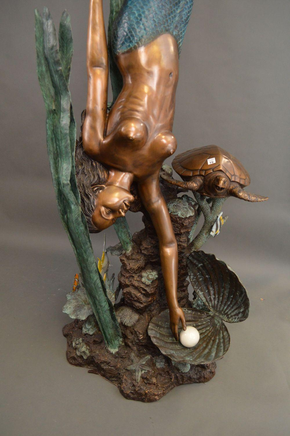 Sold Price Bronze Fountain Life Size Diving Mermaid With Turtle And Oyster Shell With Pearl 91 H August 2 0119 5 30 Pm Edt