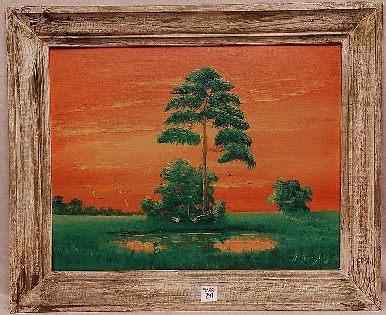 ISAAC KNIGHT FLORIDA HIGHWAYMEN PAINTINGAmerican, 20TH century, oil on artist board by Florida Highwaymen artist, Everglades Sunset, 16