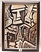 German Expressionist School, 1920's - 1930's, two figures with bottle, oil on panel, bears initials, 13 ½ x 9 ¾