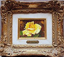 """Jane Pickens Langley Houving (AMERICAN, 20th Century) oil on board, """"Pale Yellow Rose"""" signed & dated '69, Provenance: Wally Findlay Galleries, wife of Walter Houving, president of Tiffany's"""
