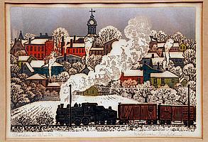 Pair Woldemar Neufeld (Russian b. 1909) Print Frosty Morning 11/50. & Chardon Winter 11/50.