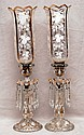 Pair of girandole luster's, with enameling on shades and bases, 21 1/2