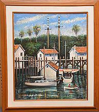 Philip Corley  (America b. 1944) oil on canvas, Florida Harbor Scene, 24 inches x 20 inches