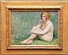 Maurice Jean Lefebvre (Belgian, 1873-1954) oil on board, seated nude, 9-1/2 inches x 13 inches, Maurice-Jean Lefebvre, Click for value