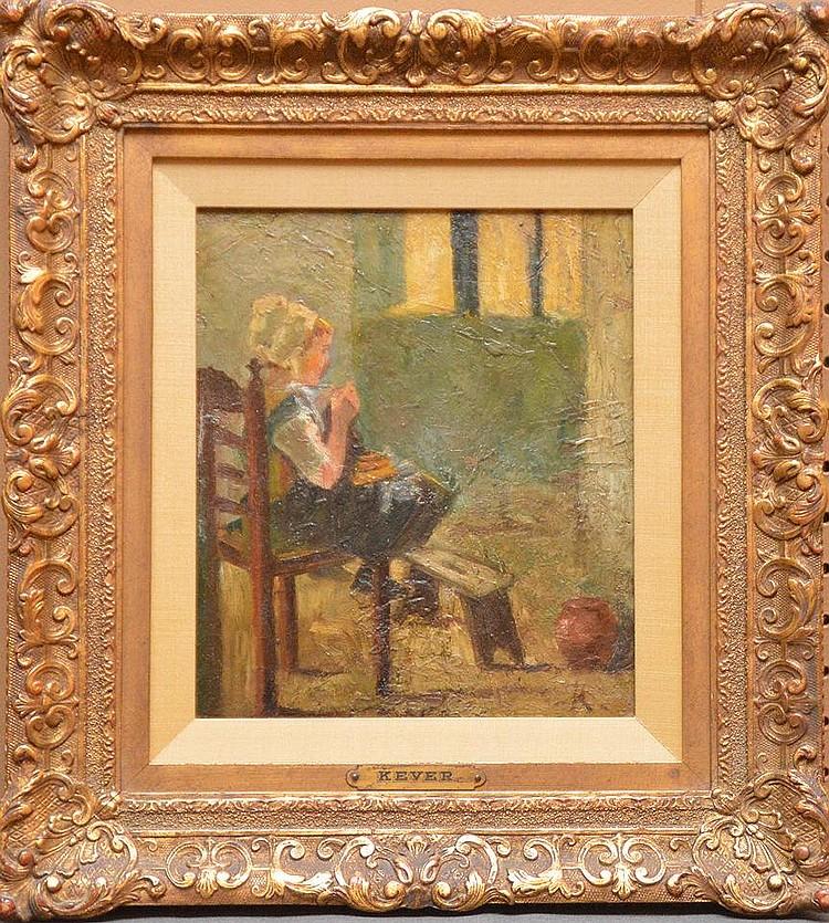 Jacob Simon Hendrik Kever (DUTCH, 1854-1922) oil on canvas, Young Girl,