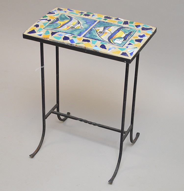 Fish tile top occasional table with 2 vintage iron garden ch for L fish furniture
