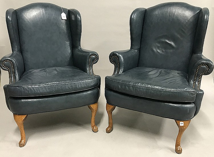 Pair Blue Leather Wingback Chairs 43h