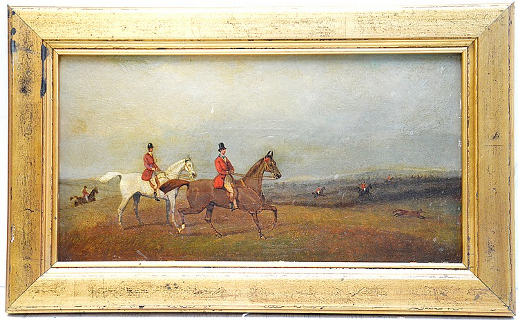 Attributed to: Robert Stone (BRITISH, ) oil on panel, equestrian painting, 8 x 15-1/2 inches