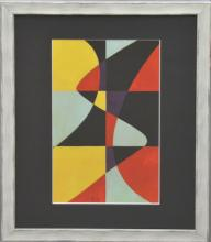 Etienne Beothy (Attrib.) (Hungarian 1894-1961) Composition, Gouache on Paper, Bears Initials EB, Image Size 14 x 8 1/4, Framed and Glazed 20 x 16 Inches