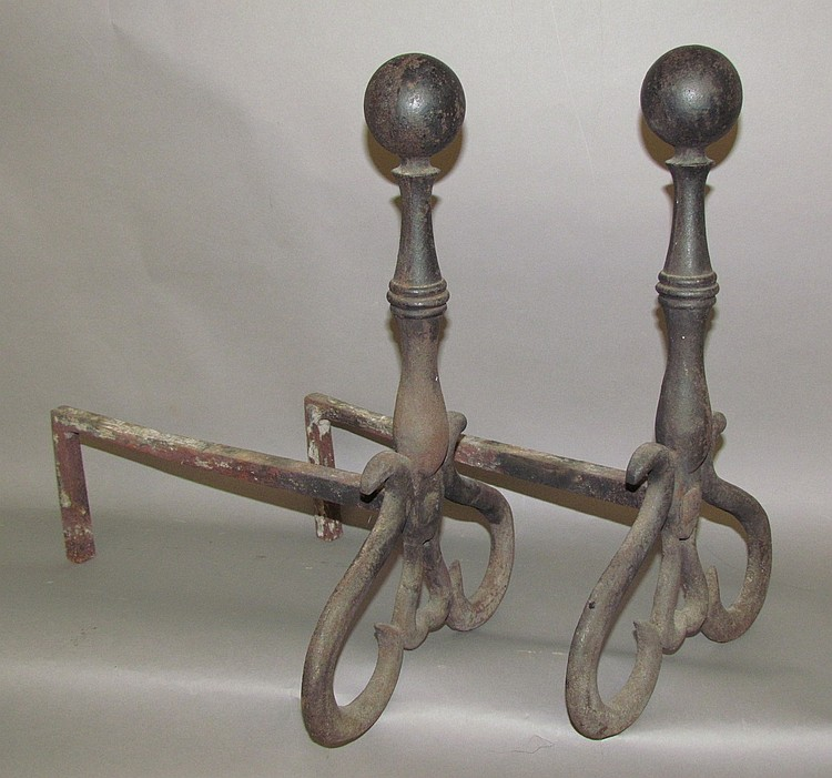 Pair of 18th century iron andirons