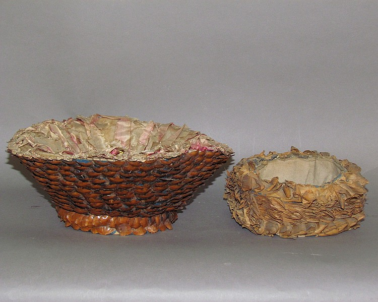 Pine cone sewing basket & blue cardboard sewing basket