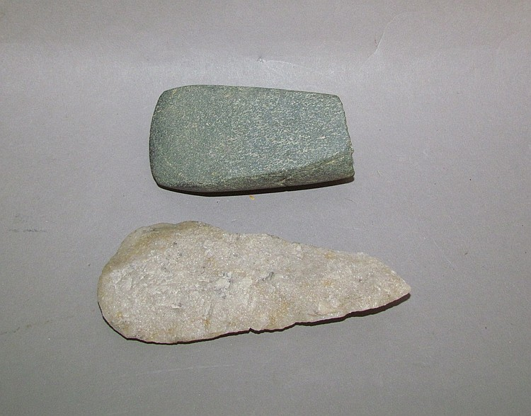 Granite celt & quartzite knife