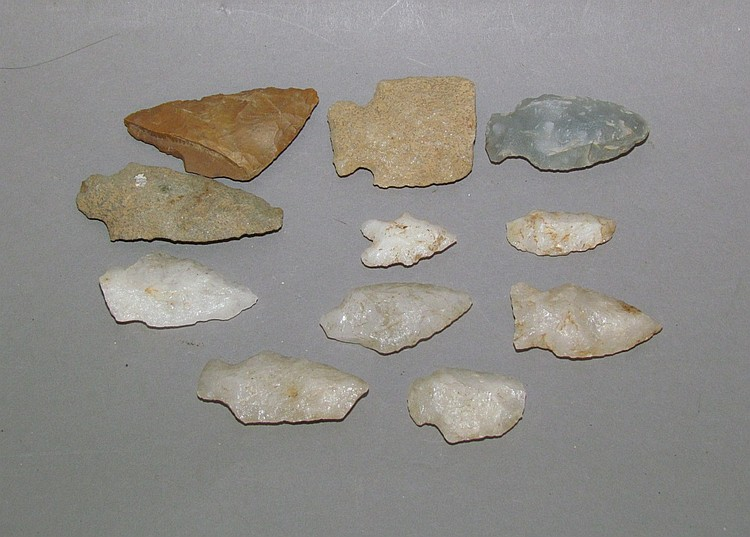 11 arrow/spear points found by Jim Tshudy