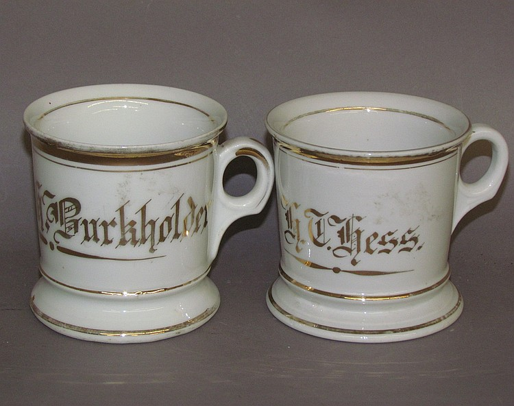 Two matching White Shaving Mugs with gold trim