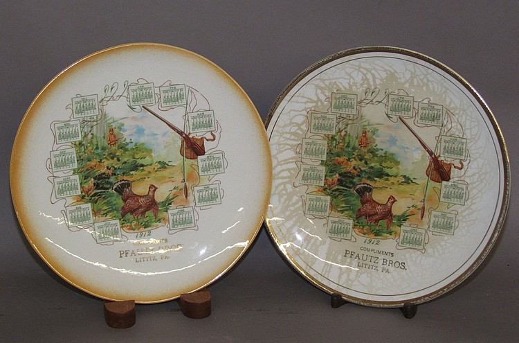 "Two calendar plates for 1912 marked ""Compliments of Pfautz Bros., Lititz, PA"""