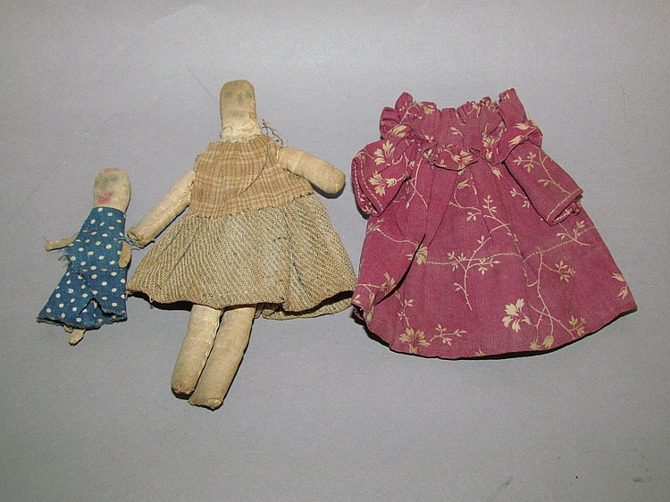 Pair of simple rag dolls, hand sewn fabric stick bodies