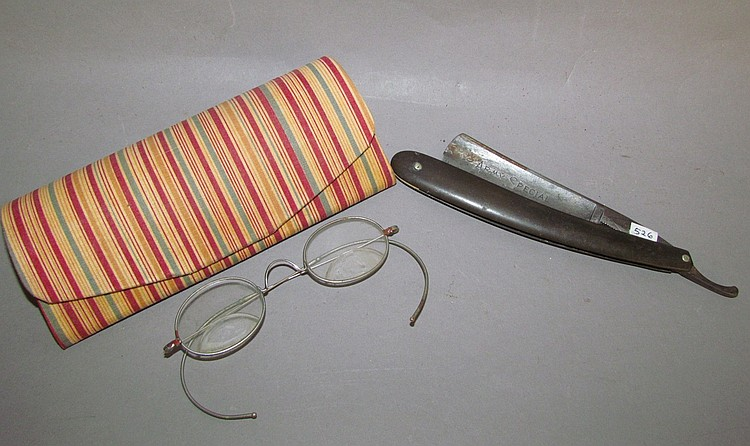 Straight razor & eyeglasses