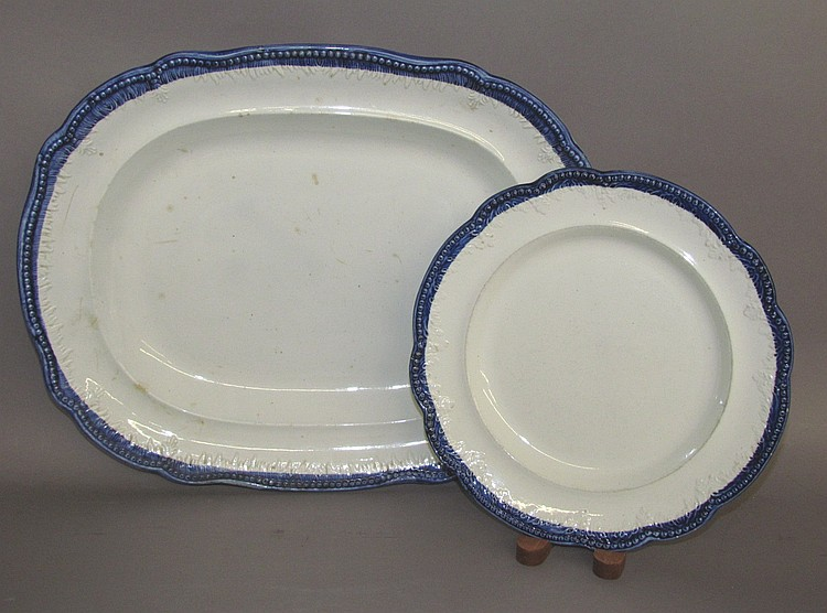Blue edged Leeds platter & plate