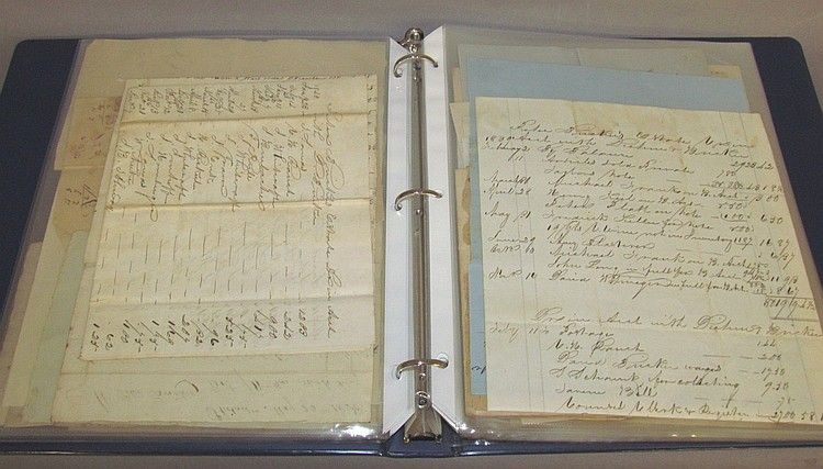Collection of paper items pertaining to Bricker's Store and Peter Bricker