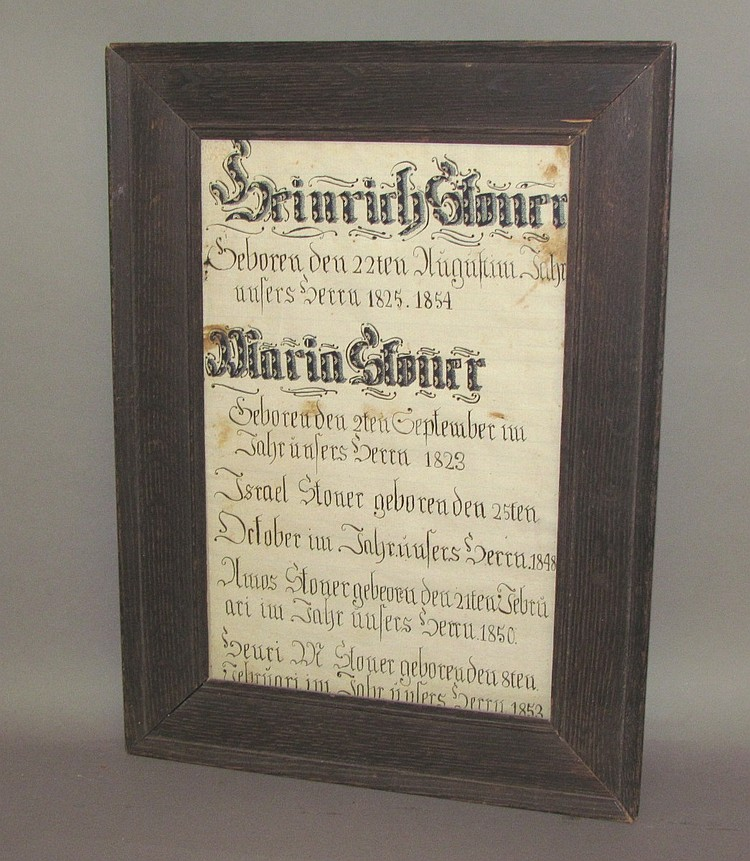 Fraktur family record of Henry and Mary (Musselman) Stoner