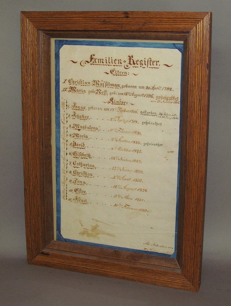 Fraktur family record of Christian Musselman and Maria Nolt
