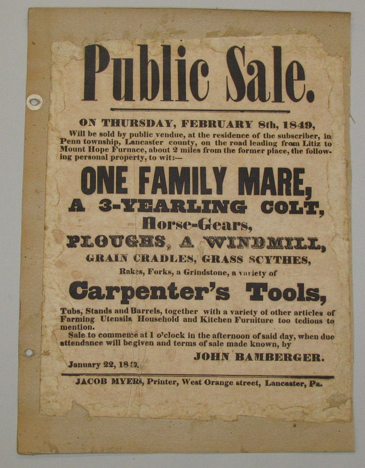 Public sale broadside