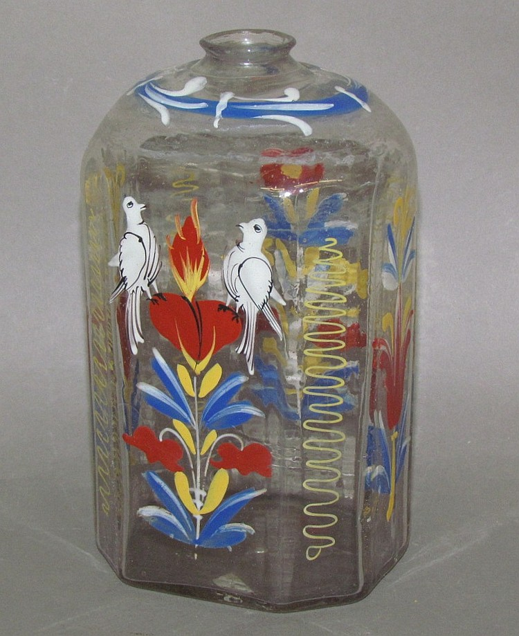 Stiegel enameled bottle