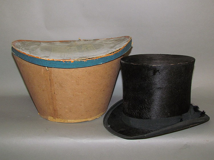 Beaver skin top hat marked FW Smith, Lancaster