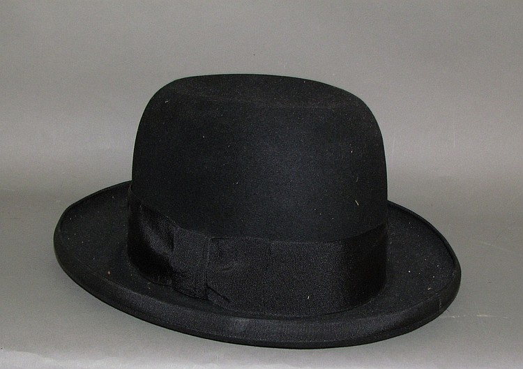 Man's black derby hat