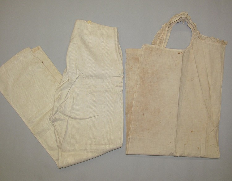 Woman's homespun apron & Man's linen pants