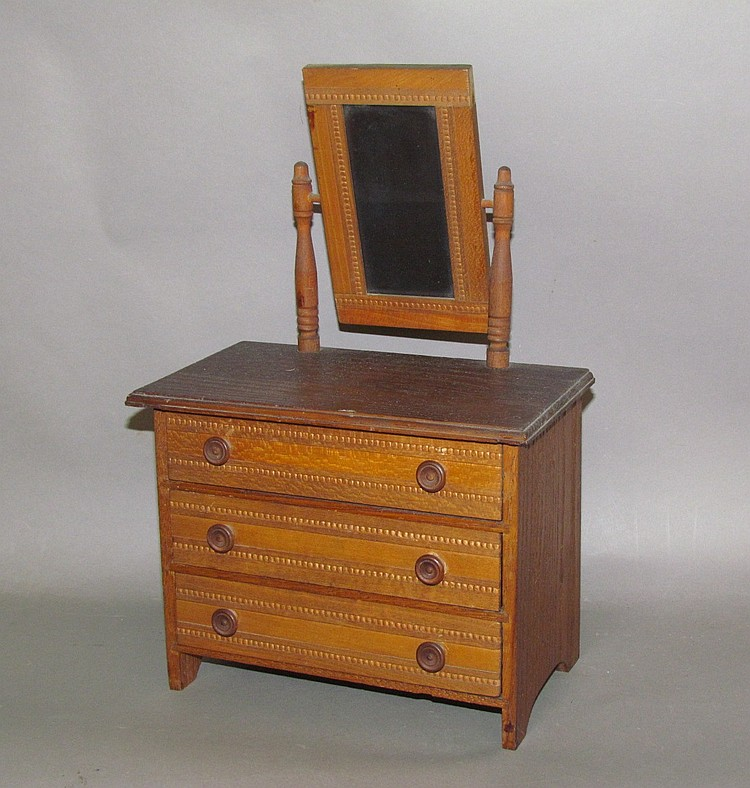 Miniature bureau with mirror